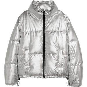 H&M padded jacket in silver metallic